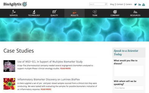 Screenshot of Case Studies Page bioagilytix.com - Case Studies Archive   BioAgilytix - captured July 29, 2016