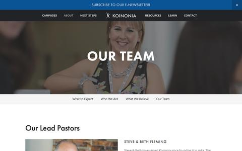 Screenshot of Team Page kcf.org - Our Team — Koinonia Christian Fellowship - captured Feb. 12, 2016