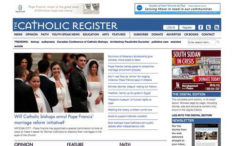 Screenshot of Home Page catholicregister.org - The Catholic Register - captured Sept. 19, 2014