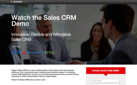 Screenshot of Landing Page sugarcrm.com - SugarCRM | Demo: Watch the Sales CRM Demo - captured July 5, 2016