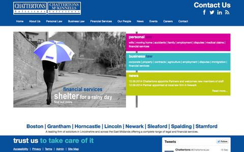 Screenshot of Home Page chattertons.com - Chattertons Solicitors - Lincolnshire - captured Sept. 19, 2014