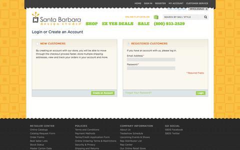 Screenshot of Login Page sb-designstudio.com - Customer Login - captured Oct. 4, 2014