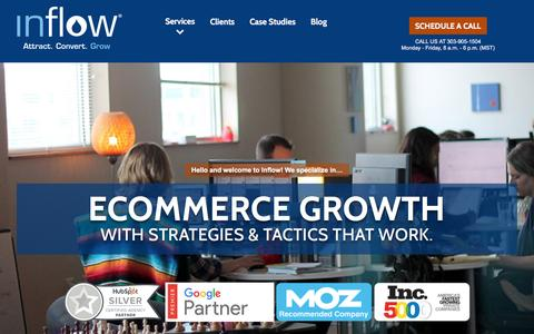 Screenshot of Home Page goinflow.com - Inflow: Award-Winning eCommerce Marketing Agency - captured Oct. 13, 2016