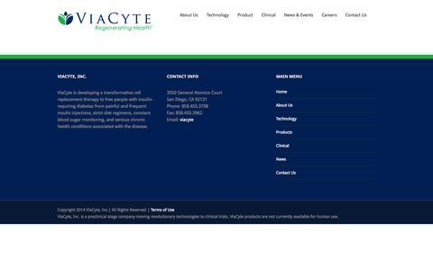 Screenshot of Terms Page viacyte.com - Viacyte, Inc. - captured Sept. 17, 2014