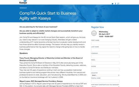 Screenshot of Landing Page kaseya.com - Webinar: CompTIA Quick Start to Business Agility with Kaseya - captured July 3, 2017