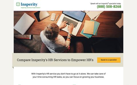Screenshot of Landing Page insperity.com - Compare Insperity's HR Services to Empower HR's - captured July 19, 2018