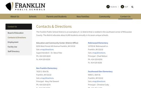 Screenshot of Contact Page Maps & Directions Page franklin.k12.wi.us - Contacts & Directions - Franklin Public Schools - captured March 30, 2017