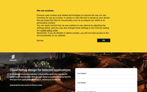Screenshot of Landing Page ericsson.com - Cloud native design for telecom applications - captured May 10, 2019