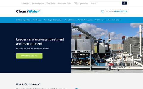 Screenshot of Home Page cleanawater.com.au - Wastewater Treatment | Cleanawater - captured Sept. 12, 2018