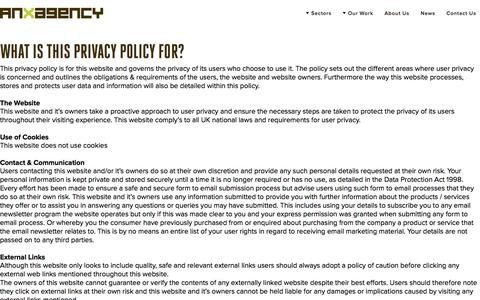 Screenshot of Privacy Page anxagency.com - The privacy policy regarding use of the anx agency website. - captured Oct. 8, 2017