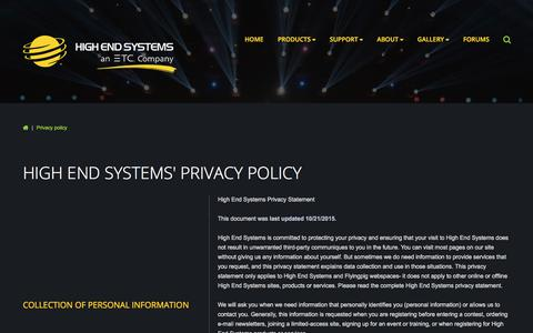 Screenshot of Privacy Page highend.com - Privacy policy - captured Aug. 11, 2017