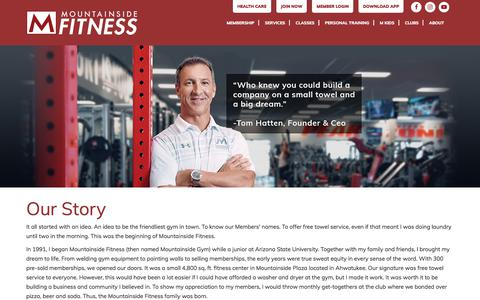 Screenshot of About Page mountainsidefitness.com - Our Story - Mountainside Fitness - captured Sept. 23, 2018