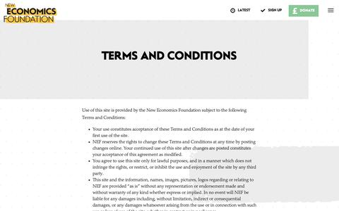 Screenshot of Terms Page neweconomics.org - Terms and conditions | New Economics Foundation - captured Oct. 17, 2018