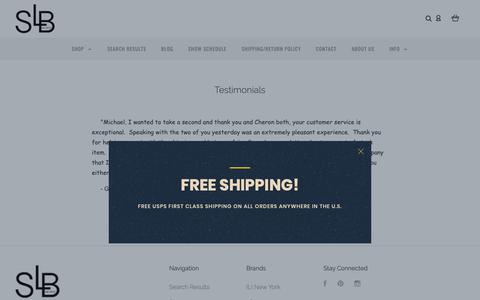 Screenshot of Testimonials Page sassyleatherboutique.com - Testimonials | Sassy Leather Boutique - captured Nov. 2, 2018