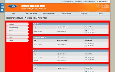 Screenshot of Hours Page nevadafordautomall.com - Dealership Hours at Nevada FLM Auto Mall - Your Nevada, Missouri Ford dealer - captured June 21, 2016