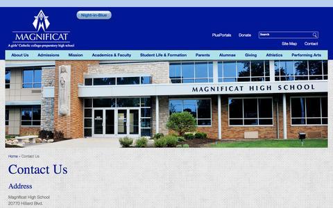 Screenshot of magnificaths.org - Contact Us | Magnificat High School - captured Oct. 3, 2015