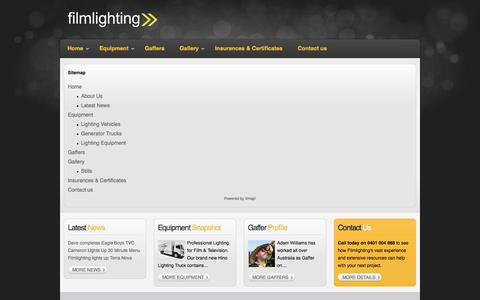 Screenshot of Site Map Page filmlighting.net - Sitemap - captured Sept. 30, 2014