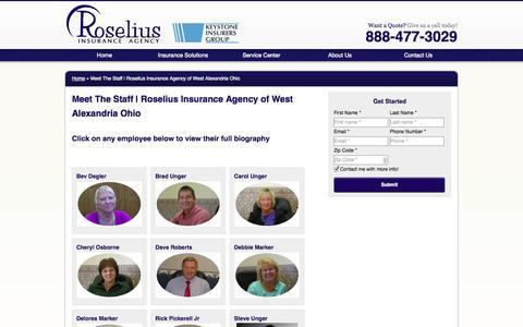 Screenshot of Team Page roseliusinsurance.com - Meet The Staff | Roselius Insurance Agency of West Alexandria Ohio - captured Oct. 9, 2014