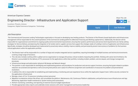 Screenshot of Jobs Page americanexpress.com - Apply For American Express Engineering Director - Infrastructure and Application Support job - Digital Commerce, Technology - Phoenix, Arizona - captured Dec. 12, 2016