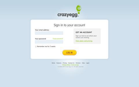 Screenshot of Login Page crazyegg.com - Log into Crazy Egg - captured Sept. 19, 2014