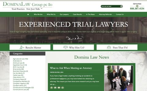 Screenshot of Press Page dominalaw.com - In the News | Legal Blog | Domina Law Group pc llo - captured Feb. 9, 2016