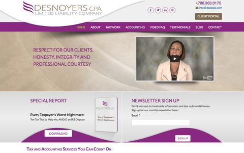 Screenshot of Home Page descpa.com - Home - Lydia Desnoyers CPA - captured Sept. 12, 2015