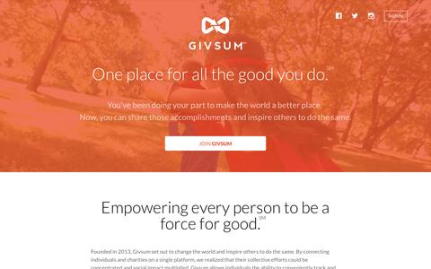 Screenshot of About Page givsum.com - Givsum > About Us - captured Jan. 29, 2016