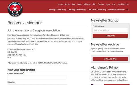 Screenshot of Signup Page internationalcaregiversassociation.com - Join With A Free Membership, The International Caregivers Association - captured Sept. 1, 2016