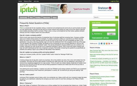 Screenshot of FAQ Page ipitch.com.au - IPitch - FAQ - captured Sept. 19, 2014