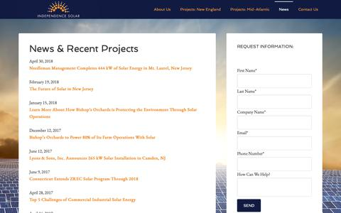 Screenshot of Press Page independencesolar.com - News & Recent Projects - Independence Solar - captured Nov. 6, 2018