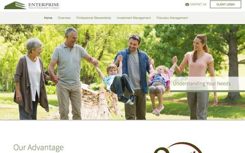 Screenshot of Home Page enterprise-trust.com - Enterprise Trust & Investment Company - captured Jan. 29, 2016