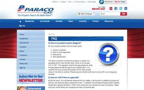 Screenshot of FAQ Page paracogas.com - Frequently Asked Questions, What Is Propane | Paraco Gas - captured Oct. 10, 2014