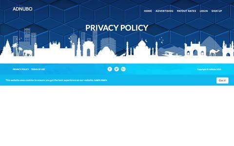 Screenshot of Privacy Page adnubo.com - Privacy Policy - captured Nov. 6, 2018