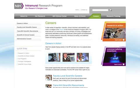 Screenshot of Jobs Page nih.gov - Careers | NIH Intramural Research Program - captured Oct. 22, 2014