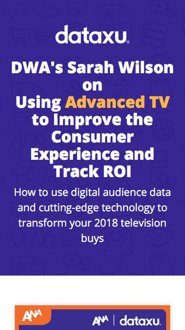 Screenshot of Landing Page  dataxu.com - DWA's Sarah Wilson on Using Advanced TV to Improve the Consumer Experience and Track ROI