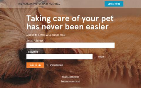 Screenshot of Login Page vetsecure.com - The Parkway Veterinary Hospital - captured Jan. 25, 2016