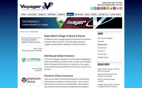 Screenshot of Testimonials Page voyager.net.uk - Voyager Testimonials | Voyager Networks - captured Oct. 6, 2014