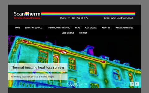 Screenshot of Home Page Menu Page scantherm.co.uk - Experts in thermal imaging surveys and training | thermal, imaging, Infrared, building, thermography, survey, BREEAM, training, Level 1 training - captured Sept. 30, 2014