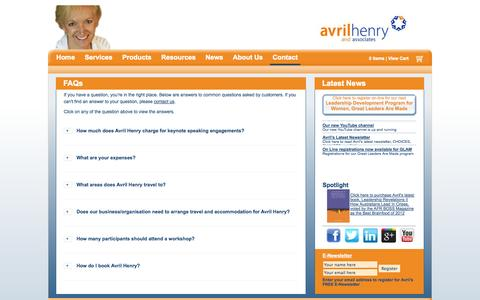 Screenshot of FAQ Page avrilhenry.com.au - FAQs | Avril Henry - captured Oct. 4, 2014