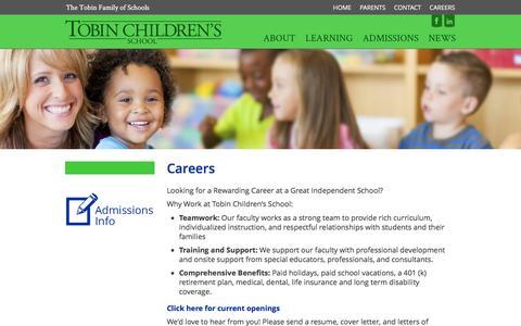 Screenshot of Jobs Page tobinchildrensschool.org - Careers - Tobin Children's School - captured Dec. 19, 2016