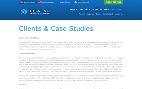 Screenshot of Case Studies Page clsystems.co.uk - Clients & Case Studies - Creative Learning Systems - captured Nov. 2, 2014