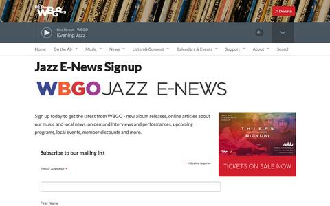 Screenshot of Signup Page wbgo.org - Jazz E-News Signup | WBGO - captured Oct. 19, 2018