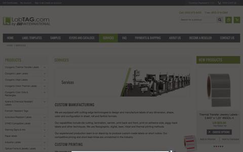 Screenshot of Services Page labtag.com - Services - captured Jan. 23, 2016