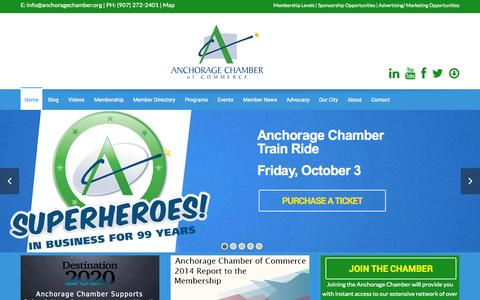 Screenshot of Home Page anchoragechamber.org - Home - The Anchorage Chamber of Commerce - captured Oct. 4, 2014