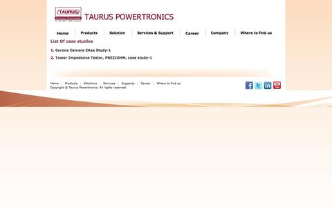 Screenshot of Case Studies Page tauruspowertronics.com - List Of case studies - captured Oct. 26, 2014