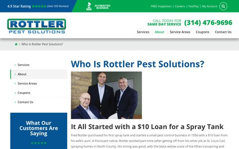 Screenshot of About Page rottler.com - About Us | Locally-Owned Since 1956 | Rottler Pest Solutions - captured Jan. 23, 2020