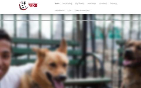 Screenshot of Home Page dctk9.com - Dog Trainer NYC - Dog Training - Dog Walking NYC | DCTK9 - captured Oct. 5, 2014