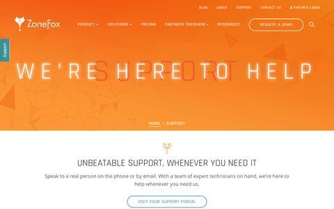 Screenshot of Support Page zonefox.com - Support | ZoneFox - captured Oct. 19, 2018