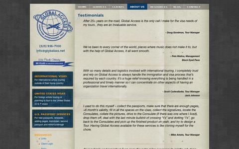 Screenshot of Testimonials Page globalaxs.net - Entertainment Viasa & Work Permits Testimonials - captured Oct. 2, 2014