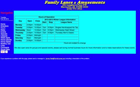 Screenshot of Hours Page familylanes.com - Family Lanes & Amusements - captured Feb. 9, 2016